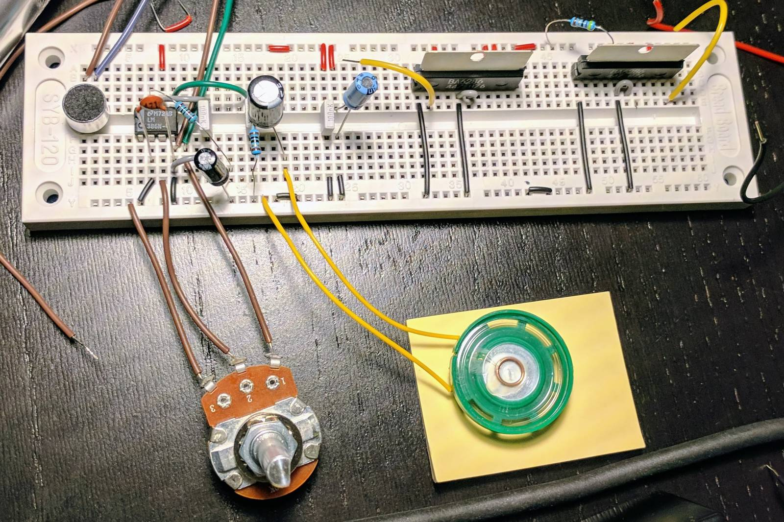 Breadboard with amplifier and motor circuits